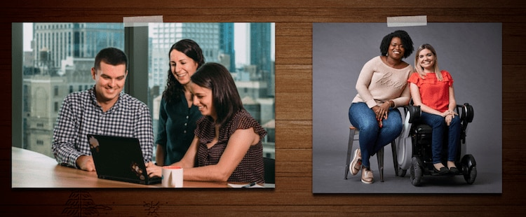 two photos of diverse team members