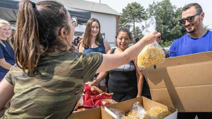 Food distribution at a church
