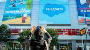 Man snaps photo of Salesforce logo