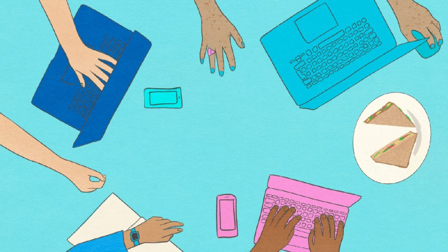 drawn hands and laptops on a blue background
